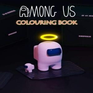 Libro para colorear personaje rosa con corona y con personaje rosa pequeño Among Us