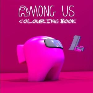 Libro para colorear personaje rosa realista con pistola Among Us