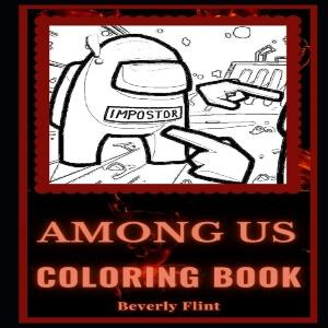 Libro para colorear personaje sin color dibujado con mano y otra mano Among Us