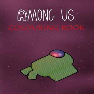 Libro para colorear personaje verde en el espacio Among Us