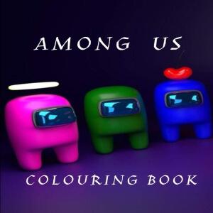 Libro para colorear personajes verde, personaje azul con corazón y personaje rosa con corona Among Us