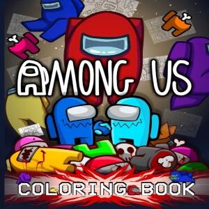 Libro para colorear varios personajes y cadaveres Among Us