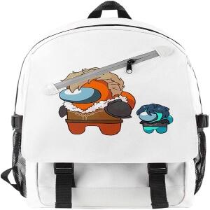 Mochila con dos cremalleras personaje azul y naranja con pelo Among Us
