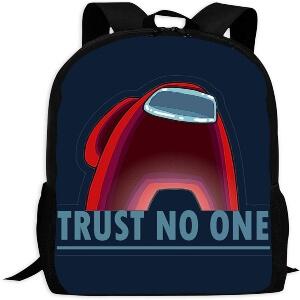Mochila escolar personaje rojo trust no one Among Us