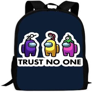 Mochila escolar personajes morado, amarillo y rosa trust no one Among Us