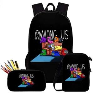 Pack de mochila, bolsa de almuerzo y estuche personajes en el sofa Among Us