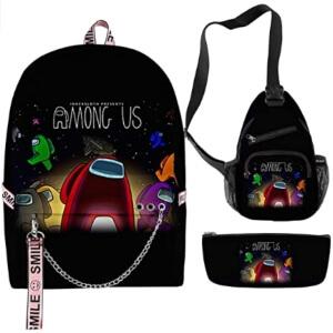 Pack de mochila con aros, bandolera y estuche logo Among Us