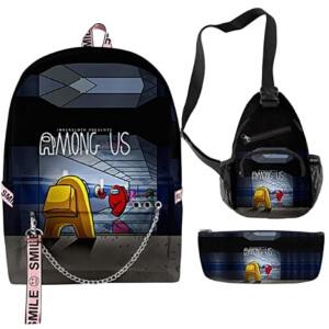 Pack de mochila con aros, bandolera y estuche pasillo Among Us