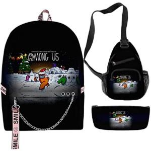 Pack de mochila escolar con aros, bandolera y estuche Navidad Among Us