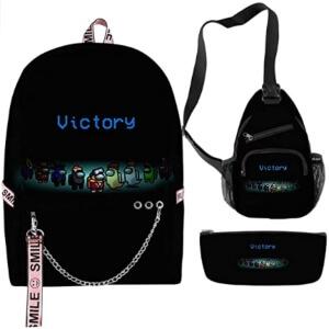 Pack de mochila escolar con aros, bandolera y estuche victory Among Us