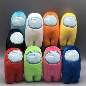 Pack de nueve mini peluches personajes de muchos colores Among Us