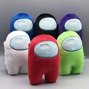 Pack de seis mini peluches personajes de muchos colores Among Us