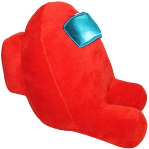 Peluche personaje rojo con mochila y ojos planos Among Us