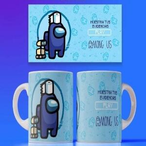 Personaje azul con papel higienico y con robot Among Us