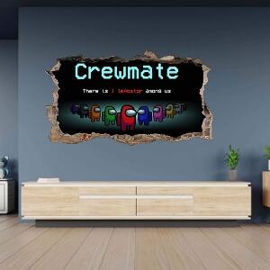 Poster con efecto agujero cemento crewmate Among Us