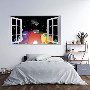Poster con efecto ventana personajes con tortuga Among Us