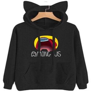 Sudadera con capucha con orejas de gato y sin cremallera logo Among Us