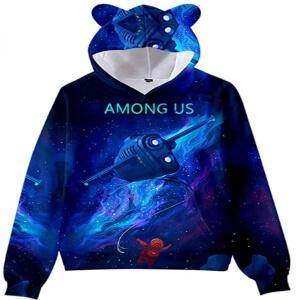Sudadera con capucha con orejas de oso y sin cremallera nave espacial Among Us