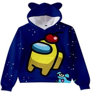 Sudadera con capucha con orejas de oso y sin cremallera personaje amarillo con manzana y un perro azul AmongUs