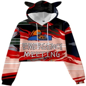 Sudadera con capucha de mujer crop top emergency meeting Among Us