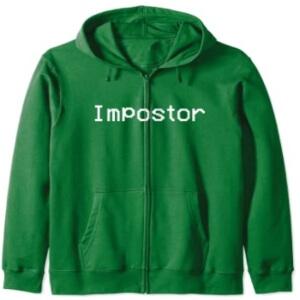 Sudadera con capucha y con cremallera impostor verde Among Us