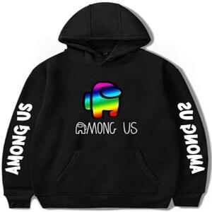 Sudadera con capucha y sin cremallera logo personaje colores arco iris Among Us