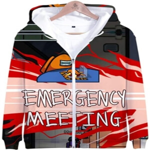 Sudadera polar con capucha y con cremallera emergency meeting Among Us
