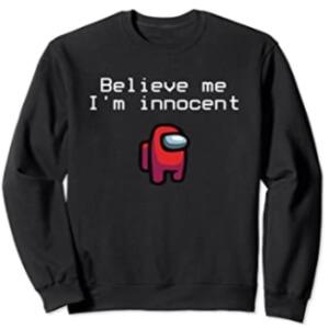 Sudadera sin capucha personaje rojo believe me i'm innocent Among Us