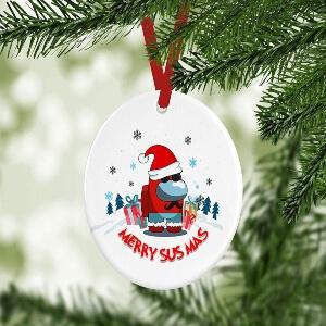 Adorno Navidad merry sus amas personaje con gorro navidad Among Us