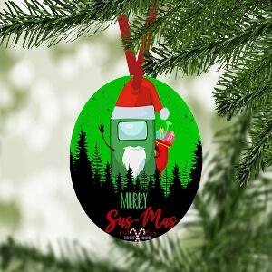 Adorno Navidad merry sus mas personaje verde Among Us