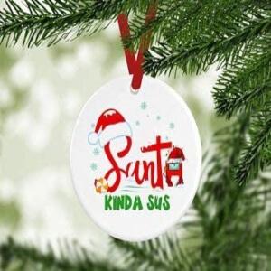 Adorno Navidad santa kinda sus letras Among Us