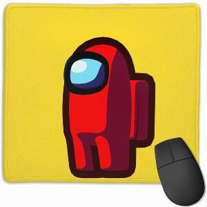 Alfombrilla personaje rojo con fondo amarillo Among Us