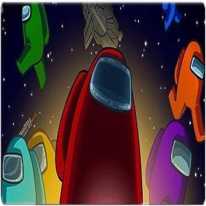 Alfombrilla personajes con nave espacial Among Us