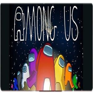 Alfombrilla personajes con nave espacial y letras Among Us