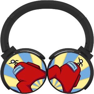 Auriculares personaje rojo con personaje pequeño de Among Us