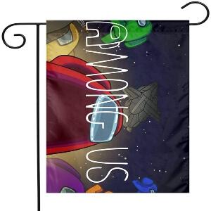 Bandera letras y personajes Among Us