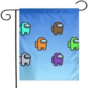Bandera personajes con fondo azul Among Us