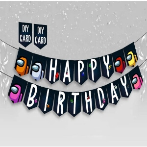Banner fiesta cumpleaños Among Us