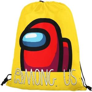 Bolsa con cordones amarilla personaje rojo Among Us