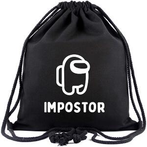 Bolsa con cordones personaje negro Among Us
