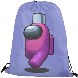 Bolsa con cordones personaje rosa con papel higienico Among Us