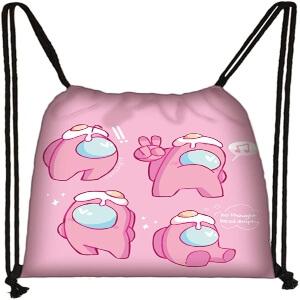 Bolsa con cordones personaje rosas con huevos Among Us