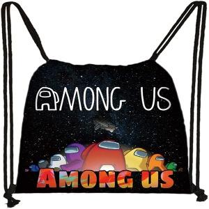 Bolsa con cordones personajes con nave espacial y letras Among Us