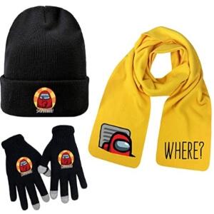 Bufanda amarilla, guantes y gorro impostor en la rejilla y impostor Among Us