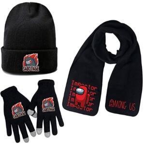 Bufanda, guantes y gorro personaje rojo impostor y sabotage Among Us