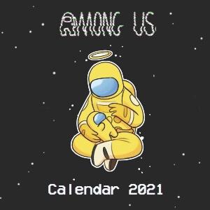 Calendario 2021 personaje amarillo con mini personaje amarillo Among Us