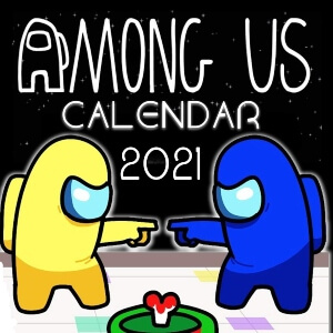 Calendario 2021 personaje amarillo y azul con cadaver Among Us