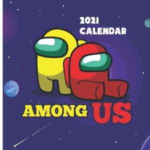 Calendario 2021 personaje rojo y amarillo Among Us