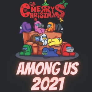 Calendario 2021 personajes en el sofa merry christmas Among Us