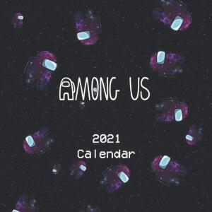 Calendario 2021 personajes morados en el espacio Among Us